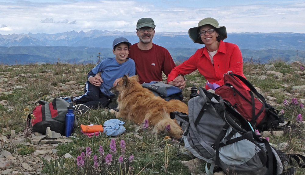 Becky, Stuart, Jacob, & Willi on the Colorado Trail 2015